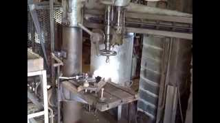 getlinkyoutube.com-Machine Shop Line Shaft lathe and drill press tools, power punch, radial drill