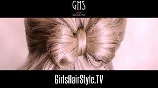 getlinkyoutube.com-リボンヘアアレンジ:髪を結びながら作るやり方
