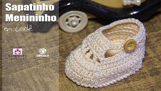 getlinkyoutube.com-Sapatinho de crochê Menininho - Professora Simone