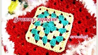 getlinkyoutube.com-2色で編む四角モチーフ(グラニースクエア)の編み方☆How to crochet a granny square☆