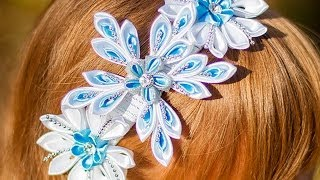 "getlinkyoutube.com-Ободок Канзаши ""Новогодний"" / DIY:  A headband Kanzashi on new year"