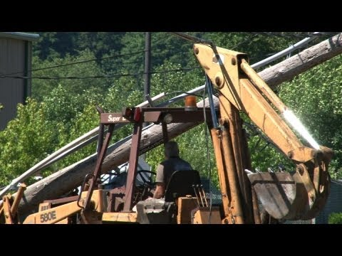 Backhoe Snapped Power Pole Operator Is Trapped Under Live Lines Fife WA