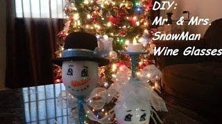 getlinkyoutube.com-DIY: Mr. and Mrs. SnowMan Wine Glasses
