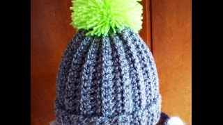 getlinkyoutube.com-Crochet easy ribbed pom pom Hat