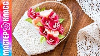 getlinkyoutube.com-Корзина цветов магнит Канзаши / Подарок на 8 марта ✄ Kulikova Anastasia