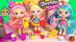 getlinkyoutube.com-3 Shopkins Shoppies Dolls Poppette Jessicake Bubbleisha Doll Toy Unboxing + Exclusives Video
