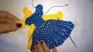 getlinkyoutube.com-Vestidinho de crochê para aplique em pano de prato/pano de copa.
