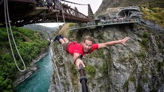 getlinkyoutube.com-Extreme Bungy Jumping with Cliff Jump Shenanigans! Play On in New Zealand! 4K!