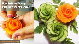 How To Make Orange Rose Flower From Carrot - Cutting & Carving