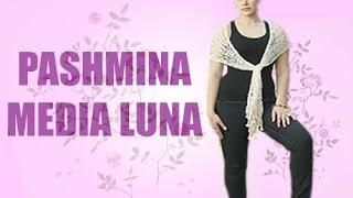 getlinkyoutube.com-Pashmina de Media Luna - Tejido rápido en Agujas - Tejiendo con Laura Cepeda