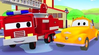 Tom the Tow Truck helps Franck the Fire Truck 🚒 🔥 to save Car City | Trucks Cartoon for Kids