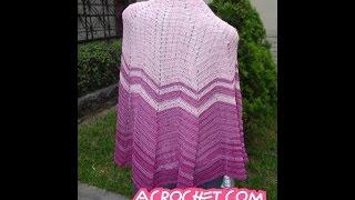 getlinkyoutube.com-Chal o capa tejido a crochet en punto zig zag simple