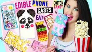 getlinkyoutube.com-DIY EDIBLE Phone Cases Using Edible Paper, Cereal, Popcorn, Cotton Candy | EAT iPhone Cases!