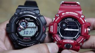 getlinkyoutube.com-Casio G-shock Mudman G-9300-1 VS Casio Rangeman GW-9400RD-4
