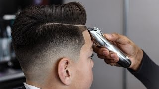 getlinkyoutube.com-*FULL LENGTH* HAIRCUT TUTORIAL: COMBOVER | DROP FADE | BLOW DRIED AND STYLE FOR STUDENT BARBERS