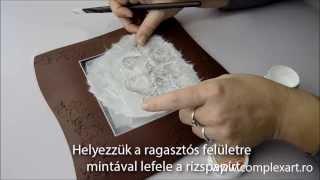 getlinkyoutube.com-Platou de Craciun - Decoupage cu hartie de orez, pasta glitter prin sablon