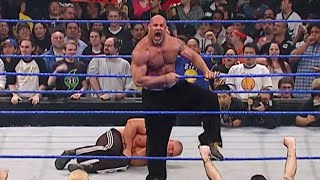 Goldberg is arrested after attacking Brock Lesnar: WWE No Way Out 2004 width=