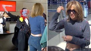Jennifer Lopez Confetti Bombed By Crazy Clown At LAX