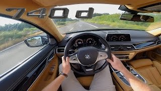 BMW 7 Series 2017 740d ACCELERATION & TOP SPEED Interior POV Test Drive AUTOBAHN