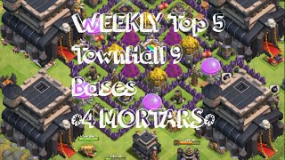 getlinkyoutube.com-4 MORTAR TH9 TROPHY BASE TOP 3 IN THE WORLD BASES | WAR | ANTI-HOG | UNbeatable