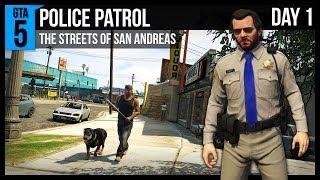 getlinkyoutube.com-GTA 5 Police Patrol - Day 1 - Chases, Tazers and Grove Street