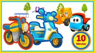 getlinkyoutube.com-Cartoni animati per bambini: Leo Junior e Max L'escavatore e gli scooter!