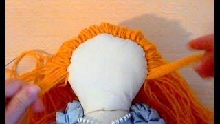getlinkyoutube.com-Тряпичная кукла. Как сделать  волосы из ниток