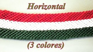 getlinkyoutube.com-Pulsera de Hilo: Horizontal Tres Colores