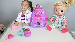 Disney Doc Mcstuffins First Responders Backpack Set with Baby Doll Imani's Family Fun World width=