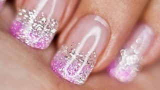 getlinkyoutube.com-Silver and Pink Glitter nails UV gel