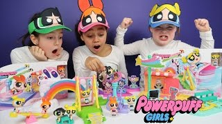 getlinkyoutube.com-Powerpuff Girls Toy Challenge! Story Maker System Superheroes Blossom,Buttercup,Bubbles | Ad Feature
