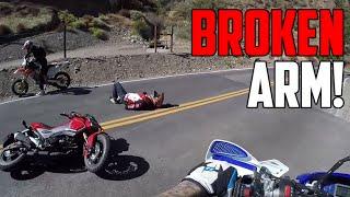 getlinkyoutube.com-Motorcyclist CRASHES HARD! (Broken Arm)