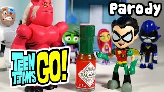 getlinkyoutube.com-TEEN TITANS GO! Robin Drinks Hot Sauce and becomes EVIL at T-Tower