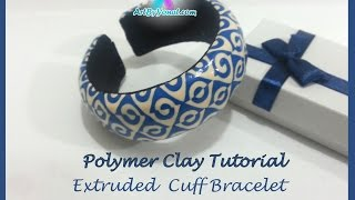 getlinkyoutube.com-Polymer Clay Tutorial - Extruded Cuff Bracelet - Lesson #22