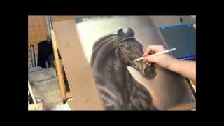 getlinkyoutube.com-Fast drawing   Silesian horse in soft pastel