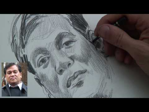 A portrait sketch demonstration by Montmartre artist Gabor