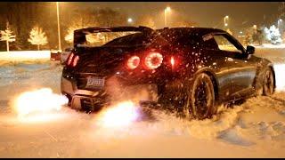 getlinkyoutube.com-GTR Snow Launch Control Flamethrower!