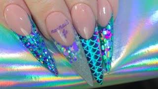 MERMAID LIFE ACRYLIC NAILS   MULTICHROME + STAMPING