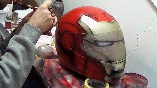 getlinkyoutube.com-Ironman fullface motorcycle helmet custompainting using aerograf airbrush