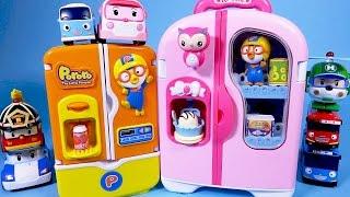 getlinkyoutube.com-뽀로로 Pororo 콩순이 냉장고 타요 로보카폴리 장난감 놀이 Pororo Refrigerator toy Tayo Robocar Poli mini cars