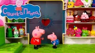 getlinkyoutube.com-Свинка Пеппа в супермаркете. Открываем корзиночки с Шопкинс. Интерактивный мультик с игрушками