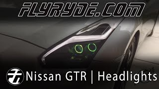 getlinkyoutube.com-2015 Nissan GTR Matte Black LED Headlights w/ RGB Demon Eyes and Angel Eyes