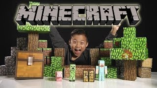 getlinkyoutube.com-MINECRAFT Papercraft Overworld Deluxe Set - Unboxing & Review