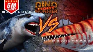 getlinkyoutube.com-Dino Monster Megalodon  VS Mosasaurus