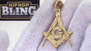 Detailed Free Mason Pendant | Masonic Jewelry | Gold Steel