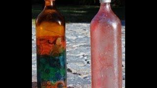 Reciclar botellas - Servilletas pegadas al vidrio -Lidia Gonzalez Varela