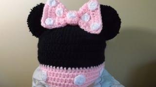 getlinkyoutube.com-Crochet Gorrito Minnie Mouse de 3 a 6 meses