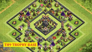 getlinkyoutube.com-Clash of Clans - TH9 Trophy Pushing Base! (2016) | Base Build + Defense Replays