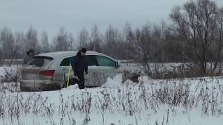 getlinkyoutube.com-Застрять в снегу: Audi Q7, VW Tuareg, Subaru Forester, Range Rover, Ford Ranger