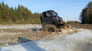 getlinkyoutube.com-ГАЗ 66 и Suzuki Jimny ломают лёд полностью! GAZ 66 deep water offroad!